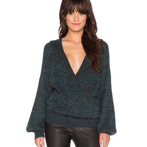 Karina Wrap Sweater in Black Emerald